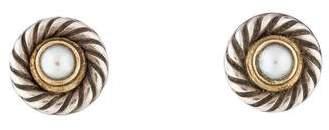 David Yurman Two-Tone Pearl Cookie Stud Earrings