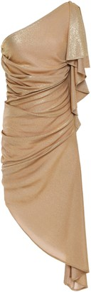 Just Cavalli Asymmetric One-shoulder Metallic Jersey Dress