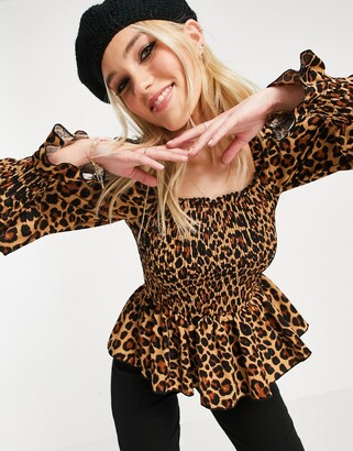 New Look shirred top in leopard print