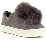 Sam Edelman Leya Faux-Fur Pom Pom Suede Slip-On Sneakers