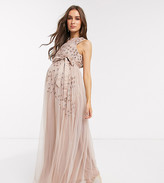 Maya Maternity one shoulder embellished maxi dress in taupe blush