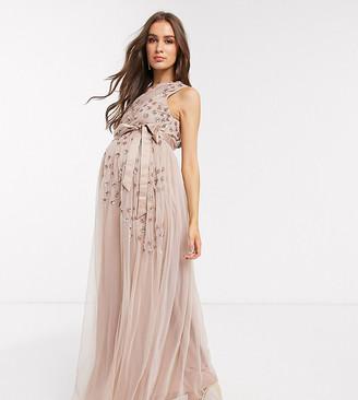 Maya Maternity one shoulder embellished maxi dress in taupe blush-Brown