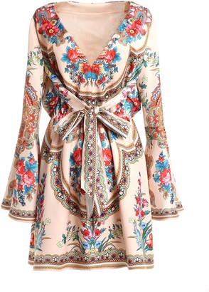 Comino Couture London Floral Folk Print V Neck Dress With Bell Sleeves