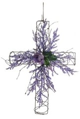Transpac Trans Pac Easter Flower and Twig Cross Wall Decor