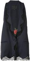 Alexander Wang lace trim pinstripe oversized waistcoat - women - Silk/Wool - 2
