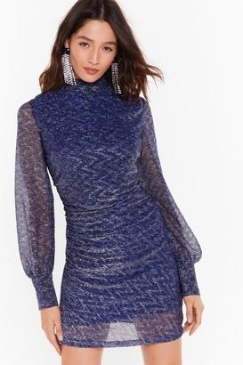 Nasty Gal Womens High Price Metallic Mini Dress - blue - 4