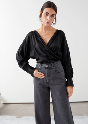 And other stories Draped Satin Wrap Blouse