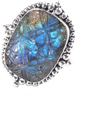Samuel B. Sterling Silver 25.00 Ct. Tw. Labradorite Flower Ring