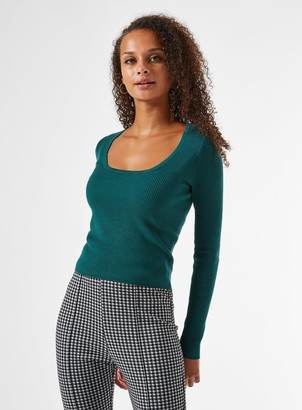 Miss Selfridge Green Cut Out Back Ribbed Knitted Jumper
