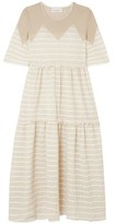 Sonia Rykiel Metallic-paneled Striped Crinkled-jersey Midi Dress
