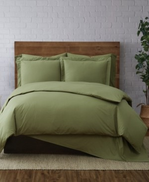 Brooklyn Loom Solid Cotton Percale Full/Queen 3-Pc. Duvet Set Bedding