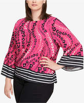 Tommy Hilfiger Plus Size Border-Print Bell-Sleeve Top, Created for Macy's
