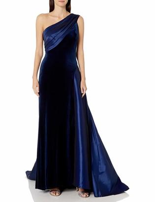 Tadashi Shoji Women's ONE Shldr Velvet and Taffeta Gown