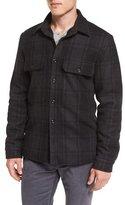 Vince Plaid Wool-Blend Military Shirt Jacket, Black/Gray