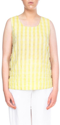 PINGPONG Sleeveless Side Button Textured Linen Top