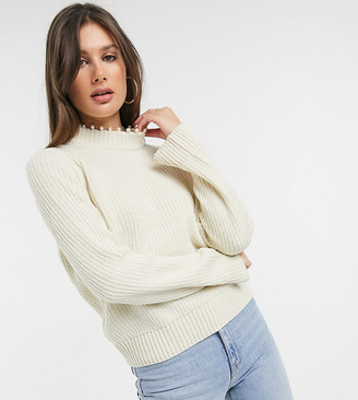 Vero Moda Tall ribbed sweater with pearl neck detail in cream