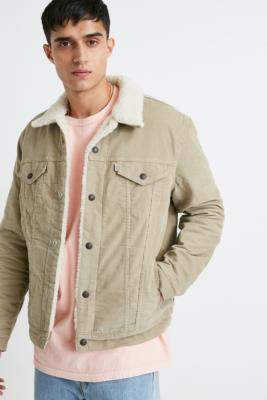 Levi's Type 3 Tan Corduroy Sherpa Jacket - beige S at Urban Outfitters