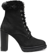 DKNY Darcy Faux Shearling-lined Textured-leather Ankle Boots