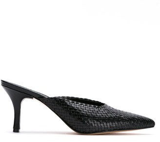 Sarah Chofakian leather woven mules