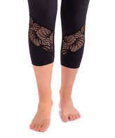 TEMA Athletics Women's Active Pants Black - Black Lace-Panel Tummy-Control High-Waist Capri Leggings - Women & Plus