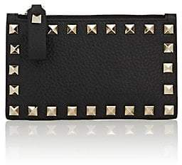 Valentino Women's Rockstud Leather Zip Card Case - Black