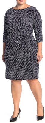 Brinker & Eliza 3/4 Length Sleeve Geometric Print Side Ruched Dress (Plus Size)