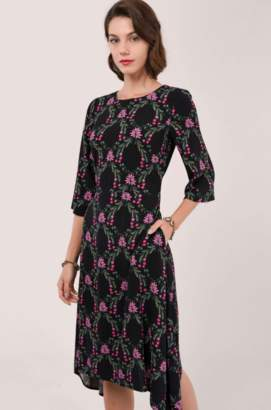 Closet London Black Hanky Hem Knee Length Dress - polyester   8   black - Black/Black