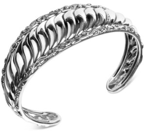 Carolyn Pollack Ribbed Cuff Bracelet in Sterling Silver