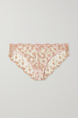 Coco de Mer Elizabeth Satin-trimmed Embroidered Tulle Briefs - Pink