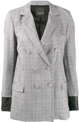Pinko check print double breasted blazer