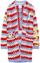 Mira Mikati Hooded Crocheted Wool-blend Cardigan - Red