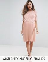 Mama Licious Mama.licious Nursing Premium Double Layer Embellished Dress