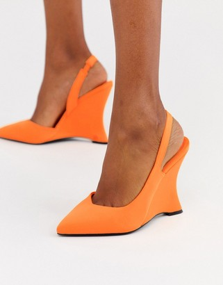 Asos Design DESIGN Poison pointed slingback wedges in bright orange