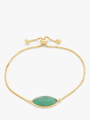 John Lewis & Partners Gemstones Large Stone Toggle Bracelet, Green Agate