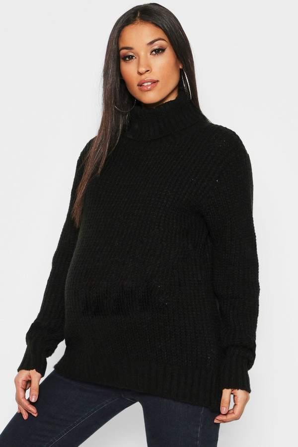 Maternity Soft Knit Roll Neck Sweater