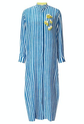 Kalmar Mali Straight Cuff Blue Brush Stripe Kaftan