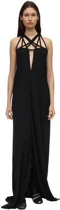 Rick Owens Crepe Long Dress W/ Crisscrossed Straps