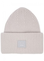 Acne Studios Dove Grey Ribbed Wool Blend Beanie