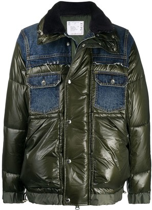 Sacai Denim-Panelled Puffer Jacket