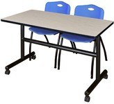 "BEIGE Vaughn Flip Top Mobile Training Table with Wheels Symple Stuff Size: 29"" H x 60"" W x 30"" D, Tabletop Finish: Beige, Chair Finish: Blue"