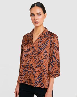 Forcast Kai Zebra Print Shirt Blouse