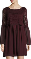 Max Studio Georgette Bell-Sleeve Lace-Popover Dress