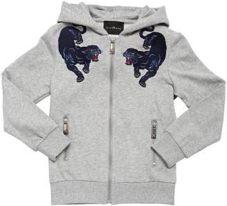 John Richmond Cotton Zip-up Sweatshirt W/ Patches