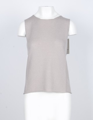 Lamberto Losani Beige Cashmere Women's Sleeveless Sweater