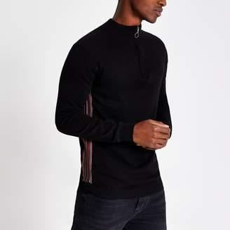 Bellfield Mens River Island Navy half zip knitted top