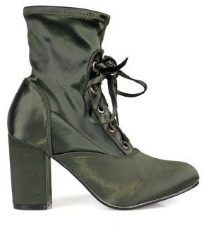Nature Breeze Lace up Almond Toe Chunk Heel Women's Anke Boots in Olive