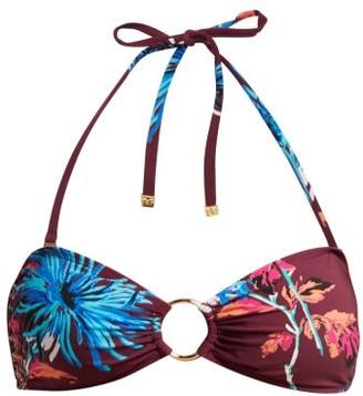 Diane von Furstenberg Floral Bandeau Bikini Top - Burgundy Multi