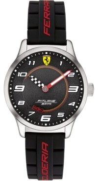 Ferrari Kid's Pitlane Black Silicone Strap Watch 34mm Gift Set