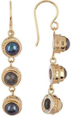 Anna Beck 18K Gold Vermeil Grey Sapphire & 6mm Simulated Blue Pearl Triple Drop Earrings