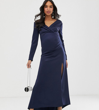 TFNC Maternity scuba maxi wrap dress in navy